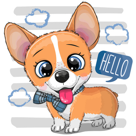 Cute cartoon Dog Corgi with a bowtie