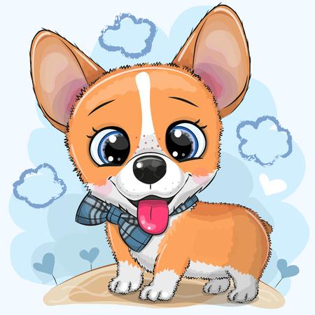 Cute cartoon Dog Corgi with a bowtie on a meadow Illustration