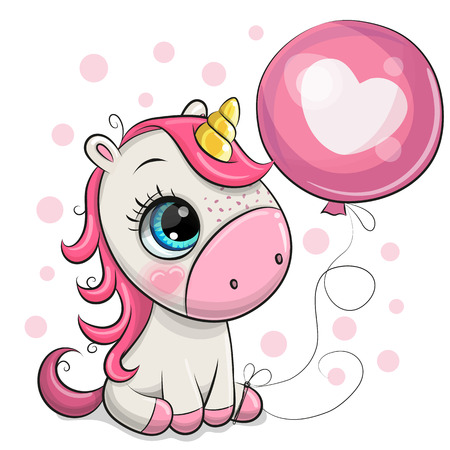 Greeting card Cute Cartoon Unicorn with pink balloon Illusztráció