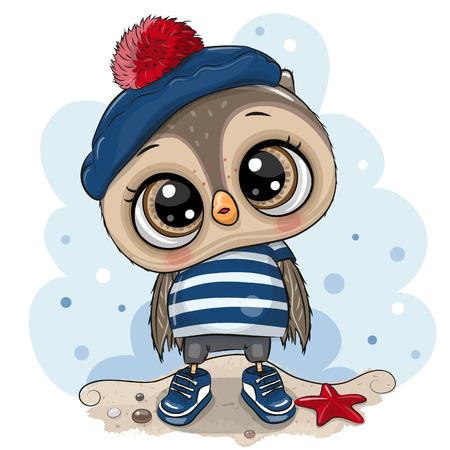 Cute baby cartoon Owl in sailor costume Illustration