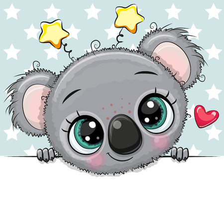 Cute cartoon Drawing Koala on a stars background