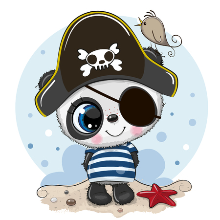 Cute cartoon Panda in a pirate hat Illustration