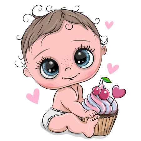 Schattige Cartoon Baby met Cupcake op een witte achtergrond