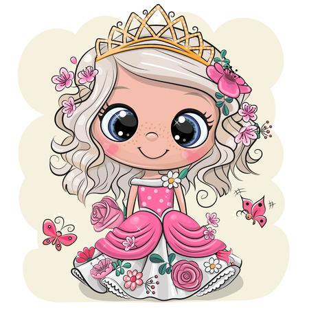 Cute Cartoon Little Princess dans une robe rose avec des fleurs sur fond jaune