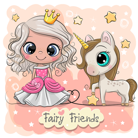 Biglietto di auguri con simpatico cartone animato fiaba principessa e unicorno Vettoriali