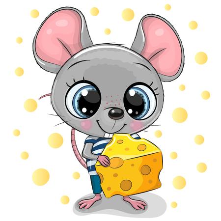 Słodka animowana mysz z dużymi oczami i serem