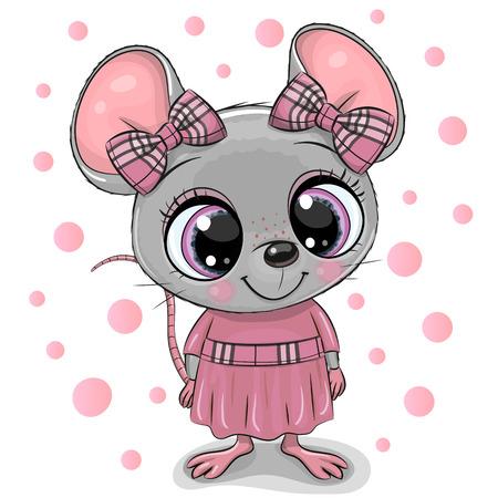 Simpatico topo cartone animato con grandi occhi in un vestito rosa Vettoriali