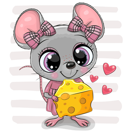 Cute Cartoon Mouse girl with big eyes and cheese