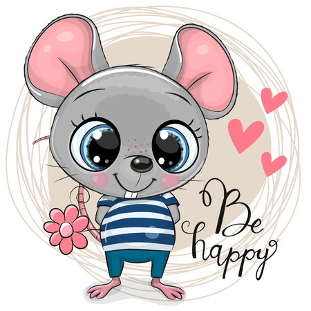 Greeting card Cute Cartoon Mouse with flowers