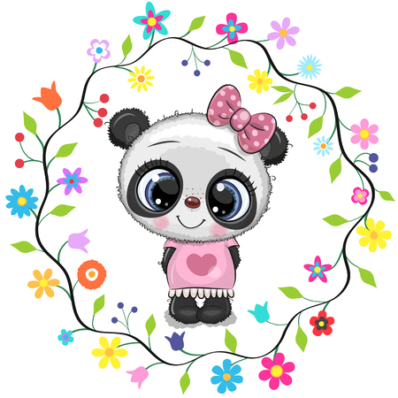 Cute Cartoon Panda girl in a flowers frame