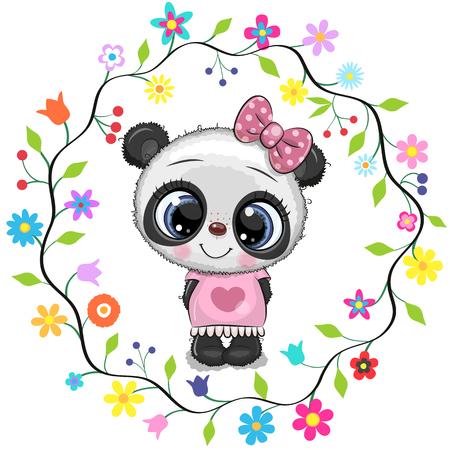 Cute Cartoon Panda girl in a flowers frame