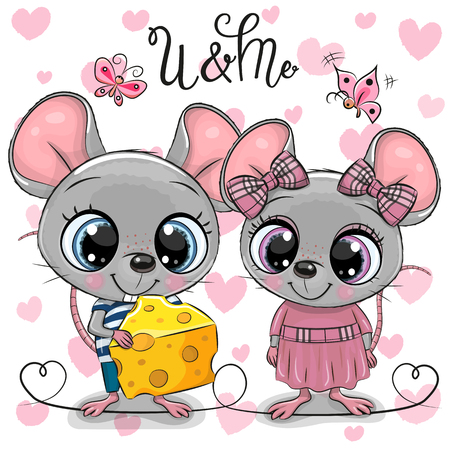 Two cute Cartoon Rats on a hearts background