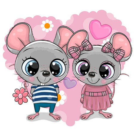 Two cute Cartoon Mouses on a heart background Vectores