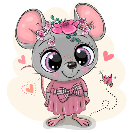 Greeting card Cute Cartoon Mouse with flowers and butterfly