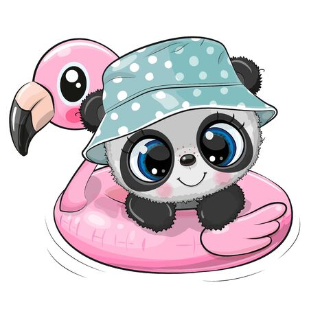 Cute cartoon Baby Panda in panama hat swimming on pool ring inflatable flamingo
