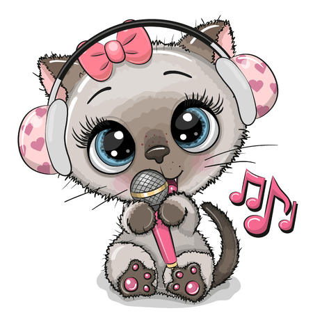 Cartoon Siamese Cat girl with headphones and microphone
