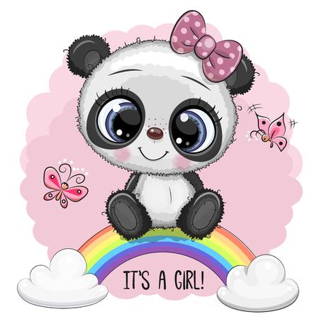 Greeting Card Cute Cartoon Panda girl on the rainbow Stock Illustratie