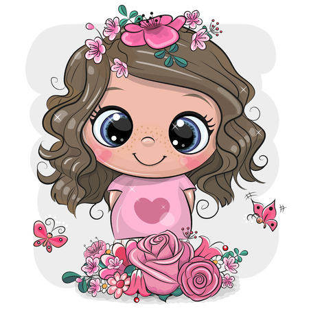 Cute Cartoon Girl with flowers on a white background
