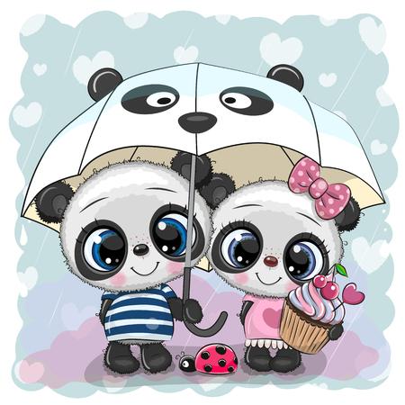 Two cute cartoon pandas with umbrella under the rain