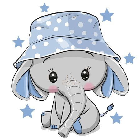 Cute Cartoon Elephant in panama hat isolated on a white background