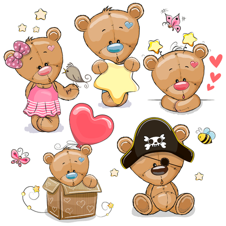 Set of Cute Cartoon Teddy Bears on a white background Foto de archivo - 129328433