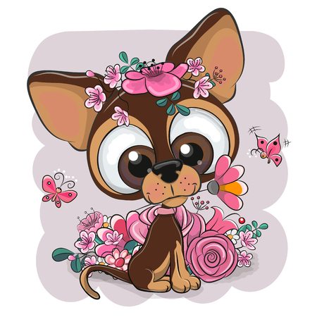 Greeting card Puppy with flower on a pink background Illustration