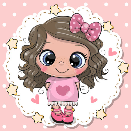 Cute cartoon Baby girl with pink bow