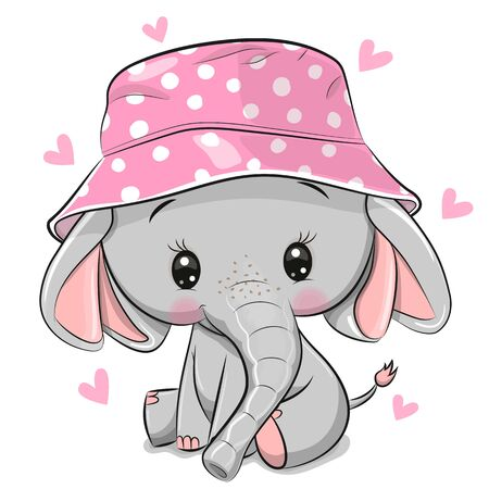 Cute Cartoon Elephant in a pink panama hat isolated on a white background