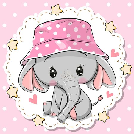Cute Cartoon Elephant in a pink panama hat on a pink background