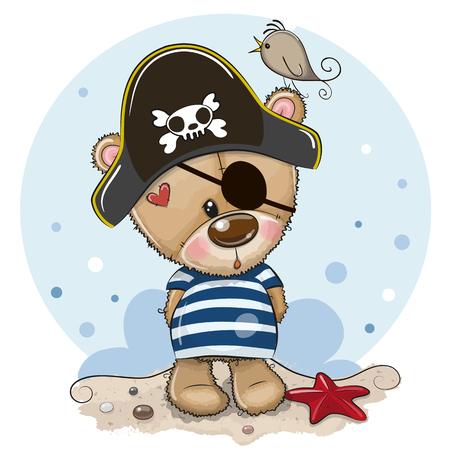 Cute baby cartoon Teddy Bear in sailor costume Foto de archivo - 129328438