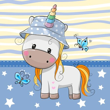 Cute Cartoon Unicorn in panama hat and blue butterflies Foto de archivo - 129328437