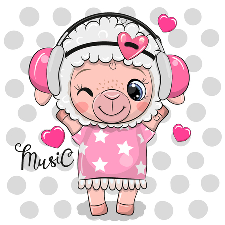 Cute Cartoon Sheep in a pink dress on a clouds backgroud Ilustração