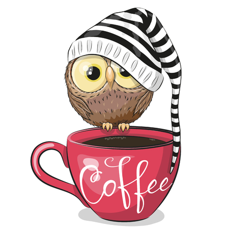 Cute Cartoon owl is sitting on a Cup of coffee Ilustracja