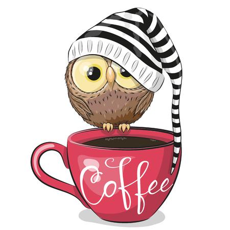 Hibou mignon de bande dessinée est assis sur une tasse de café