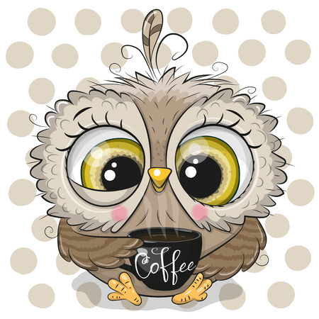 Cute Cartoon owl with a black Cup of coffee Ilustracja