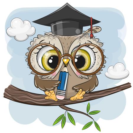 Leuke slimme uil met potlood en in afstudeerpet zittend op een tak Vector Illustratie