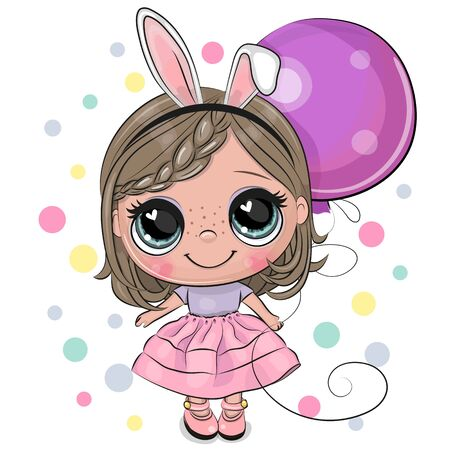 Greeting card Cute Cartoon girl with rabbit ears with balloon