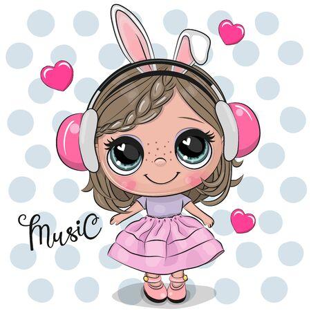 Cute Cartoon Girl in a pink dress on a dots backgroud Ilustração
