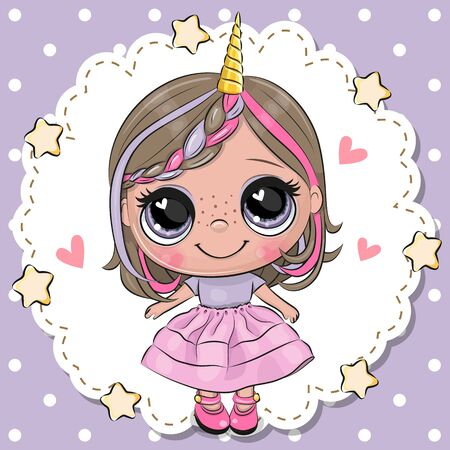 Cute Cartoon Unicorn Girl with horn in a pink skirt