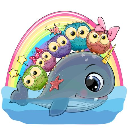 Cute Cartoon Whale with with horn and five owls