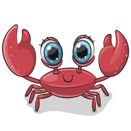 Cute Cartoon Crab isolated on a white background