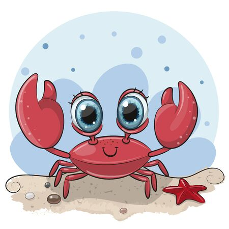 Cute Cartoon Crab with big eyes on the beach