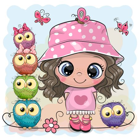 Cute Cartoon Girl in Pink Panama hat and five Owls