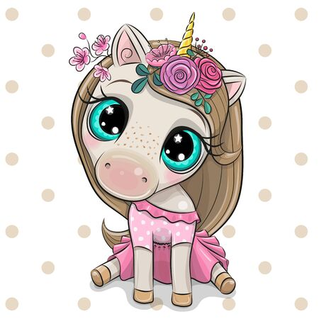 Cute Cartoon Unicorn girl with flowers on a white background