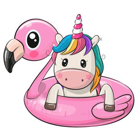 Cute cartoon Unicorn swimming on pool ring inflatable flamingo 向量圖像