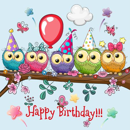 Cute Cartoon Five Owls on a brunch with balloon and bonnets