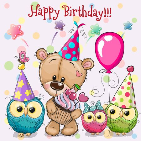 Birthday card with Teddy Bear and owls with balloon and bonnets