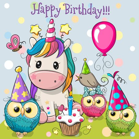 Birthday card with Cute Unicorn and owls with balloon and bonnets