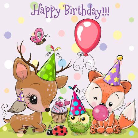 Geburtstagskarte mit niedlichen Hirschen und Fuchseulen mit Ballon und Mützen