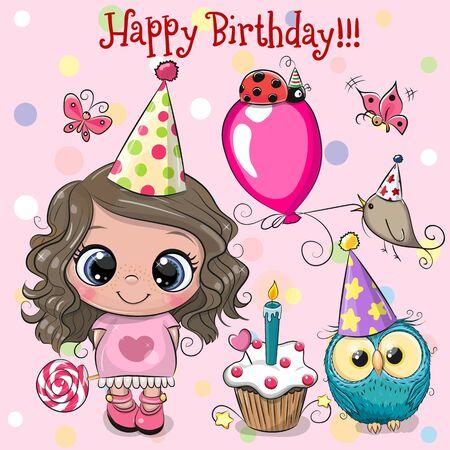 Tarjeta de cumpleaños con linda chica, búho y pájaro con globo y gorros